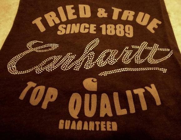 Womens CARHARTT Edgewood LONG SLEEVE SHIRT *Dark Brown TRIED & TRUE 1889 Graphic