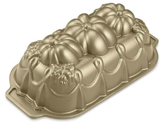 Nordicware ELEGANT PUMPKIN LOAF PAN Autumn 3D Gold-toned SPECIAL Edition *NEW