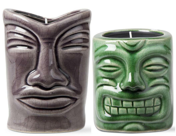 2 Tropical Island TIKI CITRONELLA CANDLES Crackle Purple-Gray & Green Stoneware