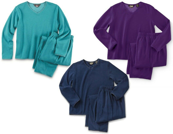 Womens Warm Plush Brushed FLEECE LOUNGE Set PAJAMAS *Navy, Purple OR Turquoise