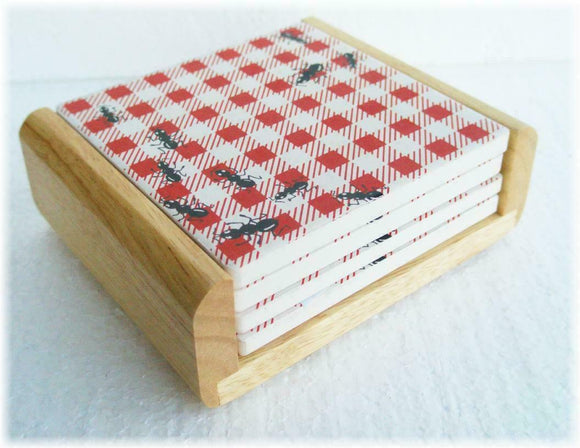 5-pc STONEWARE Drink COASTER Set & WOOD Caddy PICNIC GUESTS Ants BBQ RED Gingham
