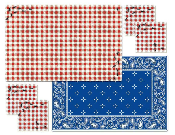 9-pc PICNIC GUESTS PLACEMAT & Stoneware COASTER Set & Caddy ANTS BBQ RED Gingham