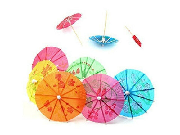 144 COLORFUL Paper PARASOLS Tropical Drink UMBRELLAS 4