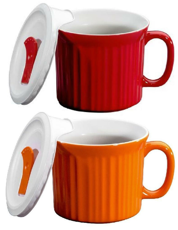 TOMATO RED or CARROT ORANGE 20-oz MEAL MUG Corningware French Colours Pop-Ins