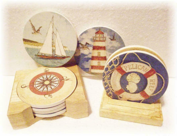 STONEWARE Drink COASTER Set & WOOD Caddy *NAUTICAL Sea ANCHOR Fish PELICAN REEF