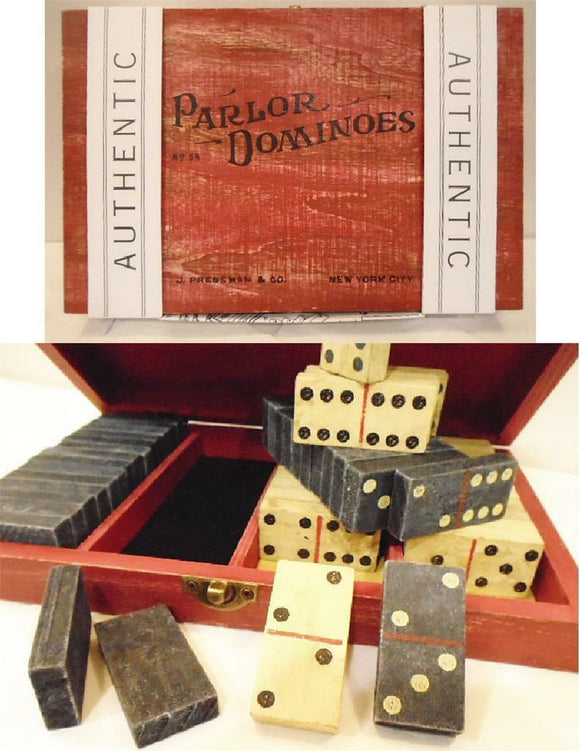 PARLOR DOMINOS 56 Hand-Cut HARDWOOD Double-Six / Antique RED Washed Wood Box