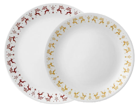 Corelle DANCER & PRANCER Choose DINNER or LUNCH PLATE Christmas Holiday Reindeer