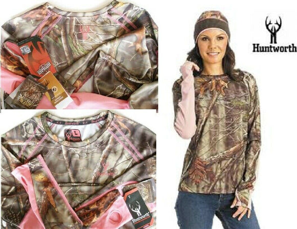 Womens HUNTWORTH OakTreeEVO CAMO CAMOUFLAGE PINK Base Layer LONG SLEEVE T SHIRT