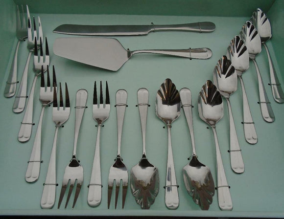 18pc HAMPTON FORGE Lexington Mirror HOSTESS DESSERT FLATWARE SET Stainless *NEW