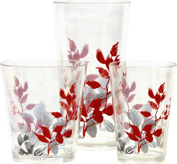4 Corelle KYOTO LEAVES Acrylic DRINKWARE Beverage Glass *CHOOSE: 19, 14 or 8-oz