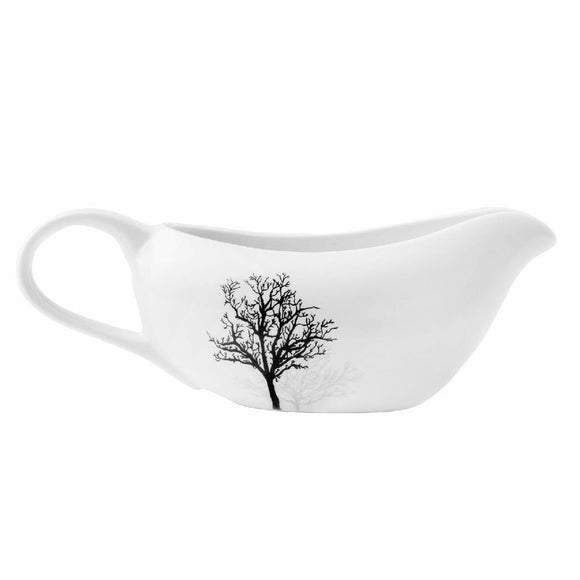 Corelle TIMBER SHADOWS Porcelain GRAVY BOAT Sauce *Black Grey Leafless Branches