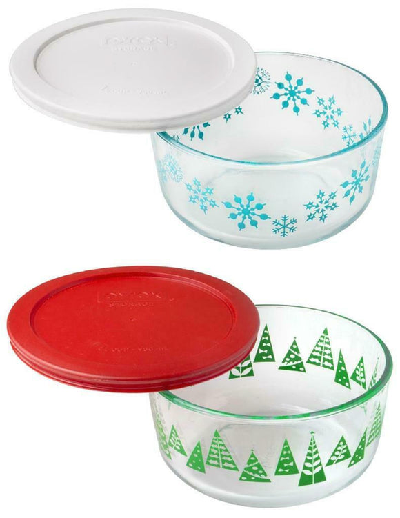 Pyrex 4 CUP Storage Bowl HAPPY HOLIDAYS 1-Qt Green Christmas Trees