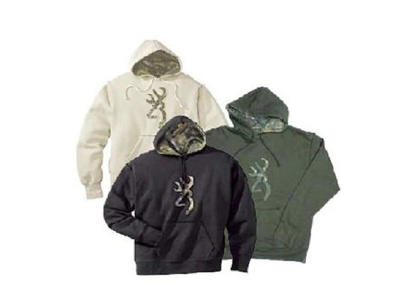 MENS BROWNING CAMO BUCKMARK PULLOVER SWEATSHIRT HOODIE Loden Green OR Sand Tan