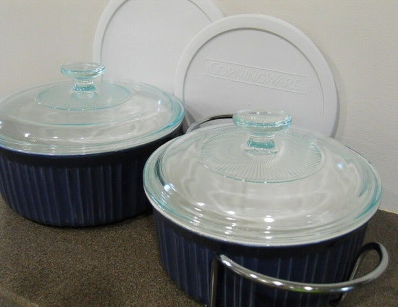7-pc Corningware DUSKY BLUE French White Casseroles 1.5  2.5 Qt Covers & Cradle