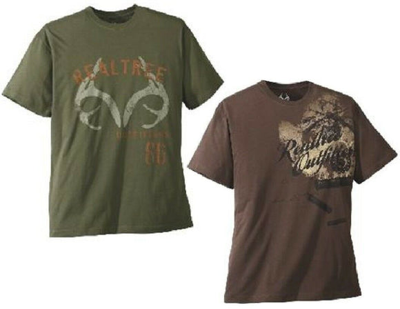 New 2 REALTREE XL OUTFITTERS Logo T-Shirts RETRO AMMO & CREST 100% Cotton