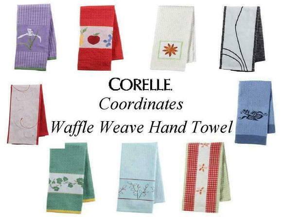 Corelle Coordinates WAFFLE WEAVE Kitchen HAND TOWEL 17x28 *PICK Your PATTERN New