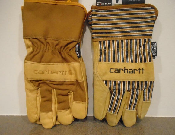 CARHARTT INSULATED GLOVES Cowhide Leather Suede THINSULATE Work Farm Warm Hands