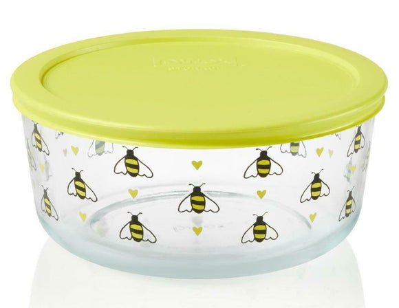 *New PYREX 7 Cup BEE HAPPY Storage Bowl YELLOW Hearts Spring Honeybees Hive Dish