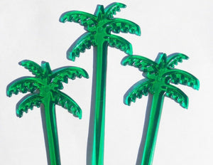 "50 Green PALM TREES Leaves 7"" Acrylic TROPICAL DRINK Cocktail Swizzle STIRRERS"