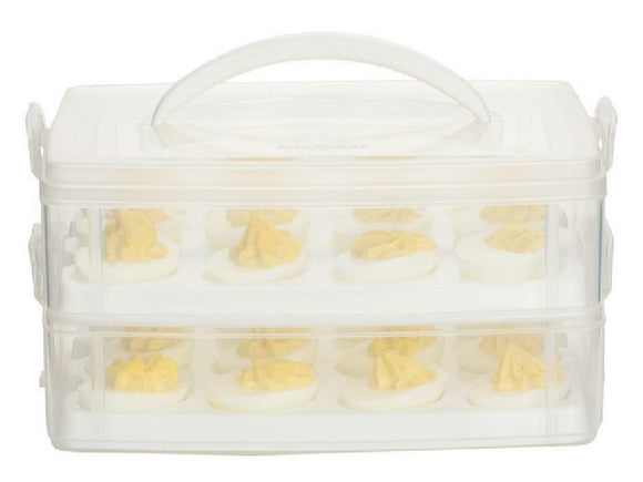 SNAPWARE Snap 'N Stack 2-Layer DEVILED Easter EGG CARRIER *Plastic Holds 24 NEW