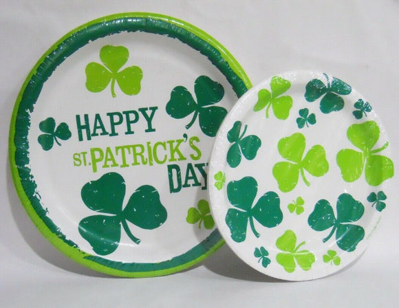 ST. PATRICKS DAY Lucky Shamrock Irish Party Supply Choose: DINNER or CAKE PLATES