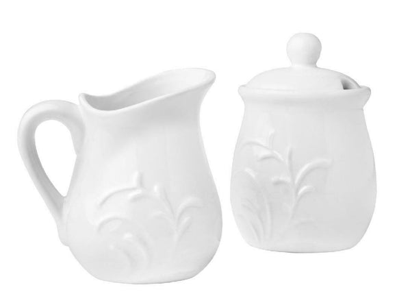 Corelle Boutique CHERISH Porcelain CREAM & SUGAR BOWL SET White Embossed Florals