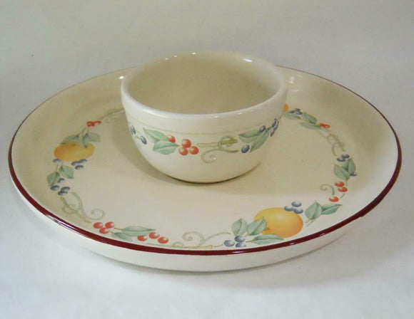 Corning ABUNDANCE FRUIT 2-pc NACHOS CHIP & DIP SET Stoneware Plate Bowl