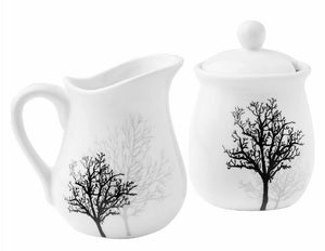 Corelle TIMBER SHADOWS Porcelain CREAM & SUGAR BOWL Black Grey Leafless Branches