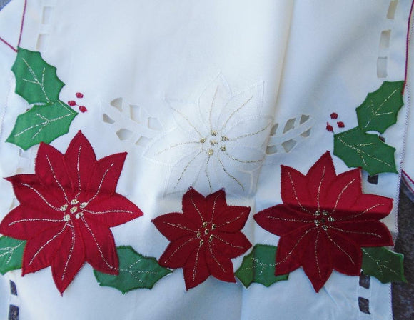 Christmas POINSETTIA & HOLLY TABLE RUNNER 13x72 Ivory Satiny Laser Cut Outs *NEW