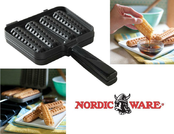 Nordicware WAFFLE DIPPERS Heavy Cast Stovetop GRILL Deep Pocket BREAKFAST Sticks