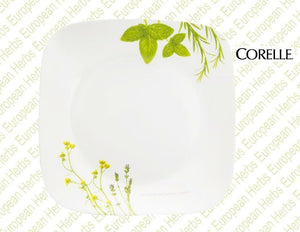 "CORELLE Square EUROPEAN HERBS 9"" Squared LUNCH Salad PLATE Earth Garden Green"