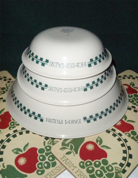 1 Corelle FARM FRESH Fruit Sandstone 10-oz DESSERT BOWL Green Gingham JAM Jelly