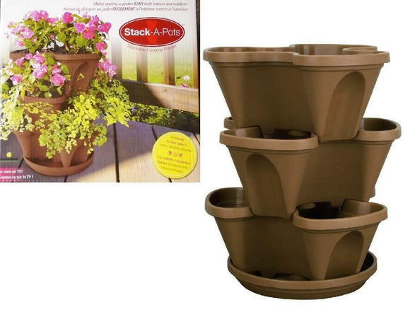 14-Qt STACK-A-POT Tiered Stackable HANGING Planter Pots BROWN Flowers Herbs *NEW