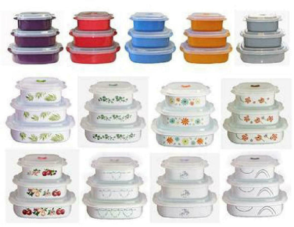 Corelle Calypso 6pc Plastic MICROWAVE COOKWARE Set VENT Lids *PICK Your PATTERN