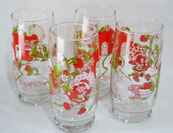 *NEW 4 Anchor Hocking STRAWBERRY SHORTCAKE 16-oz GLASSES 1980 American Greetings