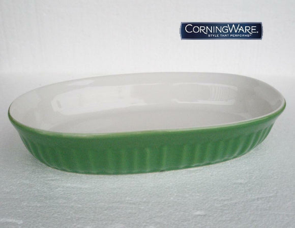 CorningWare FRENCH WHITE Grass GREEN Stoneware 23-oz OVAL DISH & Plastic COVER