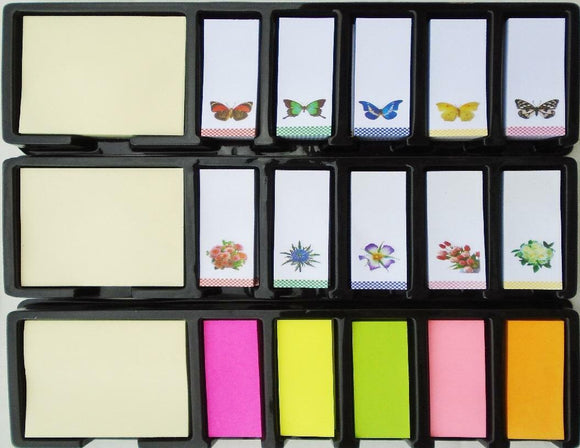 960 STICKY NOTES FLAGS Choose BUTTERFLY FLOWERS or SOLID Memo Notepad Index Tags