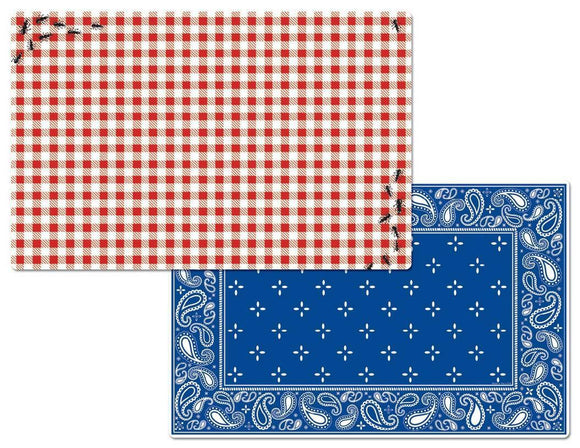 8-pc PICNIC GUESTS Reversible PLACEMAT SET *Ants BBQ RED Gingham BLUE Paisley