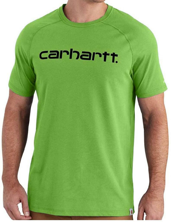LARGE CARHARTT Delmont Graphic LEAF GREEN T-SHIRT Moisture Wick Stain Resistant