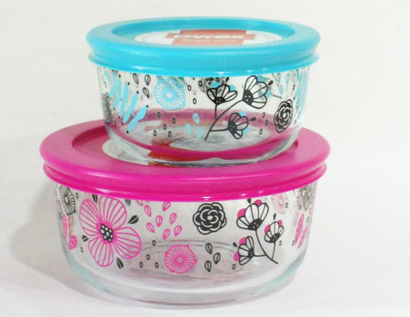 NEW Pyrex ANSA FLORAL 1 & 2 Cup STORAGE BOWLS Pink Turquoise Blue Nordic Blooms