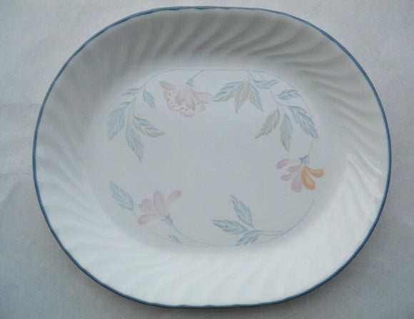Corelle PINK TRIO 12 1/4 x 10 SERVING PLATTER Plate *Pink Floral Grey Rim NEW