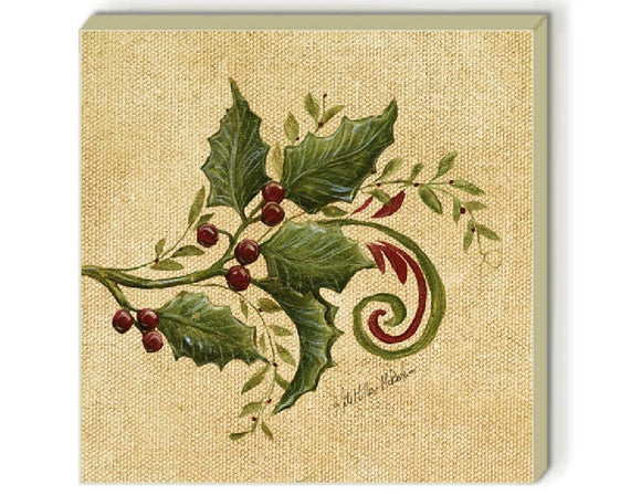 4 Christmas Holiday HOLLY COASTERS Stoneware Square Tiles Cork Festive Red Green