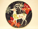 "6"" Christmas Stoneware TRIVET / HOT PLATE *Holly, Comfort & Joy, OR Red Snowman"