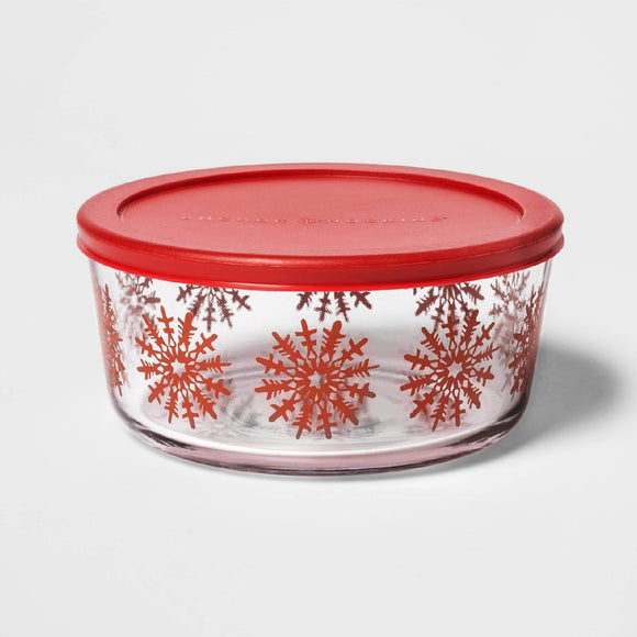 *NEW Threshold RED WINTER SNOWFLAKES 7 Cup Holiday Glass Storage Bowl Gift Dish