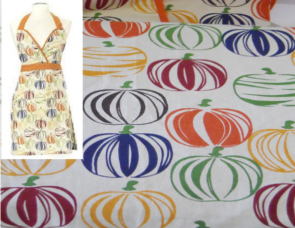 Harvest Kitchen Gourds PUMPKIN APRON Form Fitting Cotton THANKSGIVING Cook