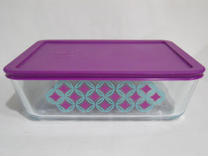 Pyrex DIAMONDS 11 Cup RECTANGULAR Food Storage Container TURQUOISE PURPLE