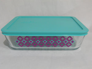 Pyrex DIAMONDS 6 Cup RECTANGULAR Food Storage Container TURQUOISE PURPLE