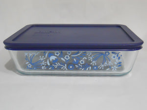 Pyrex PRAIRIE GARDEN 6 Cup RECTANGULAR Food Storage Container Floral BLUE Cover