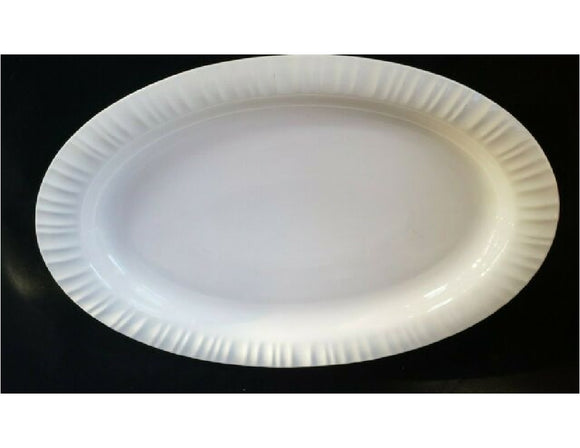CORNING Ware 10 x 6 FRENCH WHITE Oval Stoneware SERVING PLATTER Fluted Rim