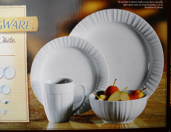 16-pc Corningware FRENCH WHITE Stoneware DINNERWARE SET Oven Micro Safe